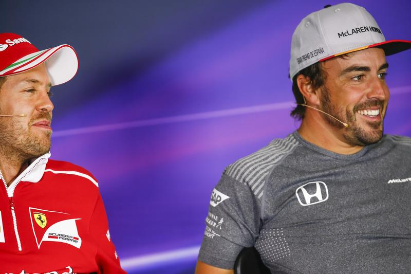 Sebastian Vettel, Ferrari, Fernando Alonso, McLaren, in the press conference