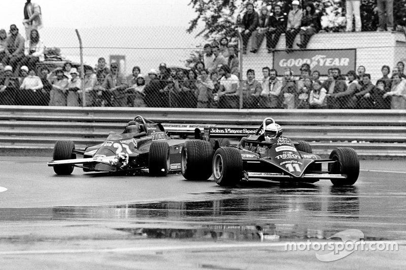 Gilles Villeneuve, Ferrari 126CK y Elio de Angelis, Lotus 87-Ford Cosworth
