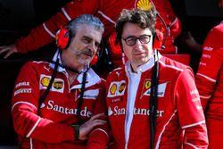 Maurizio Arrivabene, Ferrari Team Principal with Mattia Binotto, Ferrari Chief Technical Officer