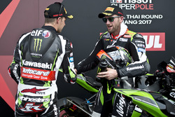 Race winner Jonathan Rea, Kawasaki Racing, third place Tom Sykes, Kawasaki