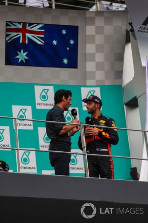Mark Webber, Daniel Ricciardo, Red Bull Racing celebrate on the podium