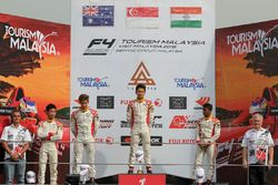 Podium: race winner Danial Frost, second place Jordan Love, third place Akash Gowda