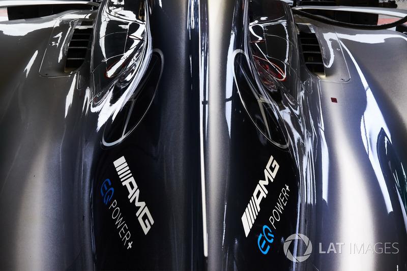 La cubierta del motor en el Mercedes AMG F1 W08