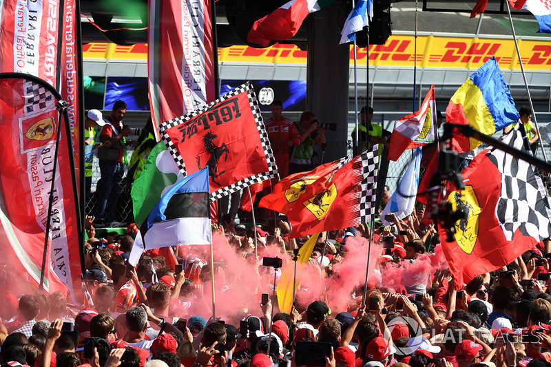 Ferrari fans, flares and flags