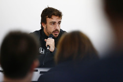 Fernando Alonso, McLaren, talks to the media