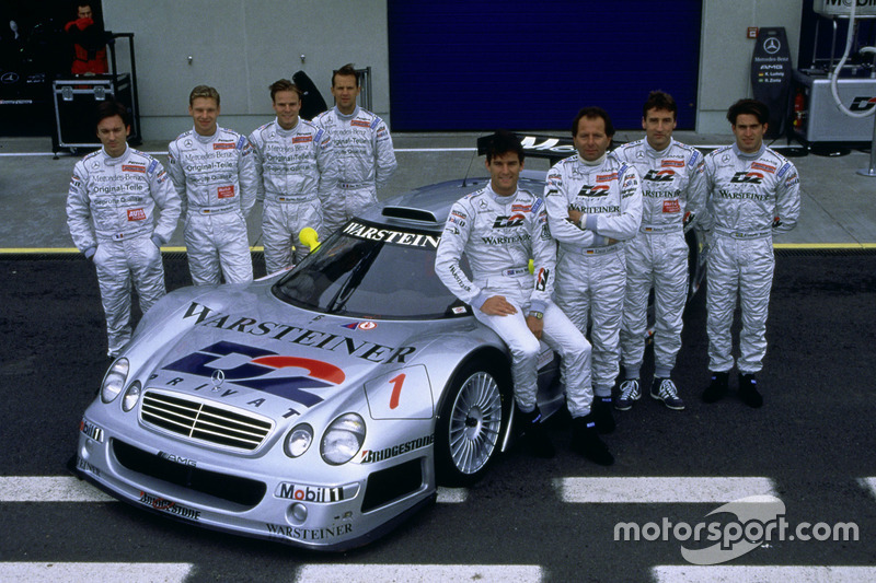 Bernd Schneider, Mark Webber, Klaus Ludwig, Ricardo Zonta, Marcel Tiemann, Jean-Marc Gounon, Christophe Bouchut, Bernd Mayländer with the Mercedes-Benz CLK-GTR