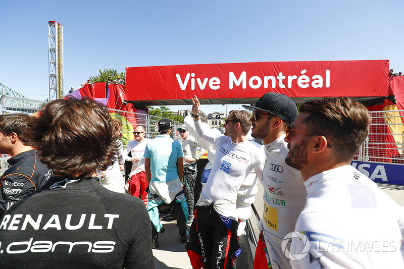 Maro Engel, Venturi, Daniel Abt, ABT Schaeffler Audi Sport, y Jose Maria Lopez, DS Virgin Racing,en el desfile de pilotos