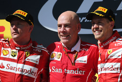 Podium: race winner Sebastian Vettel, Ferrari, second place Kimi Raikkonen, Ferrari, Jock Clear, Eng