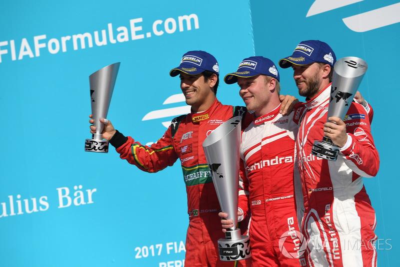 1. Felix Rosenqvist, Mahindra Racing; 2. Lucas di Grassi, ABT Schaeffler Audi Sport; 3. Nick Heidfeld, Mahindra Racing