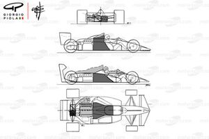 Brabham BT55 1986 schematic comparison to BT54
