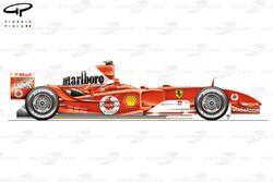 Vue latérale de la Ferrari F2004 (655)