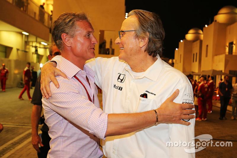 David Coulthard, Red Bull Racing y Scuderia Toro asesor / Channel4 F1 comentarista con Mansour Ojjeh, accionista de McLaren