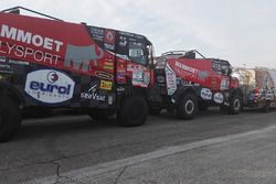 Trucks prepared for the long journey to Buenos Aires