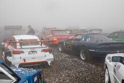 Race cars are hit with hail at the summit