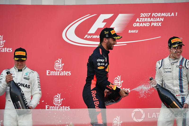 Podio 2017: Valtteri Bottas, Mercedes AMG F1,Daniel Ricciardo, Red Bull, Lance Stroll, Williams