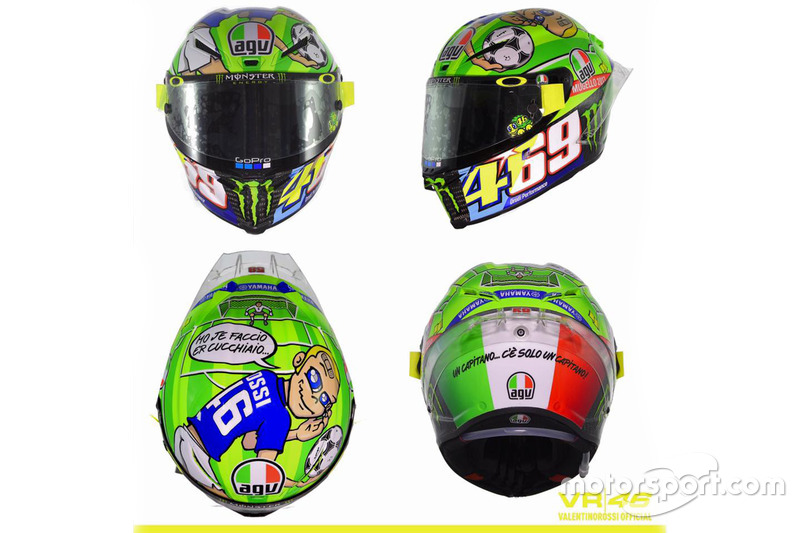 Valentino Rossi, diseño casco para el Gran Premio de Italia