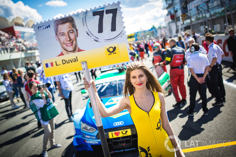 Grid girl of Loic Duval, Audi Sport Team Phoenix, Audi RS 5 DTM
