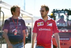 Michael Schmidt, Journalist and Sebastian Vettel, Ferrari