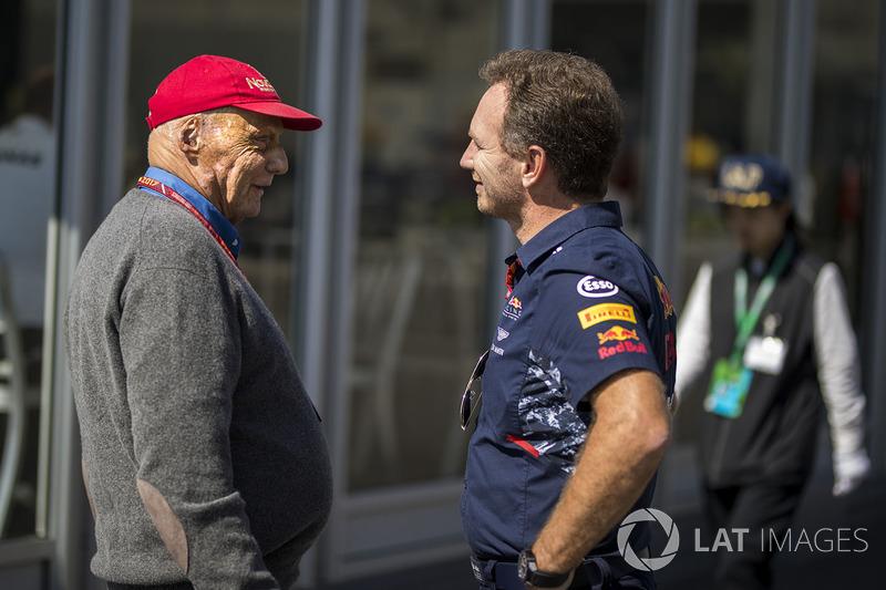 Niki Lauda, Presidente Non-Esecutivo Mercedes AMG F1 e Christian Horner, Team Principal Red Bull Rac