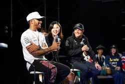 Lewis Hamilton, Mercedes AMG F1, Valtteri Bottas, Mercedes AMG F1, on stage in the F1 Fanzone