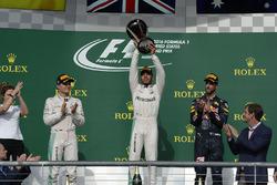 Podium: winnaar Lewis Hamilton, Mercedes AMG F1, tweede Nico Rosberg, Mercedes AMG F1, derde Daniel Ricciardo, Red Bull Racing