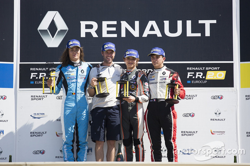 Podium: race winner Lando Norris, Josef Kaufmann Racing, second place Max Defourny, R-ace GP, third place Dorian Boccolacci, Tech 1 Racing