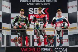Podium: winner Chaz Davies, Ducati Team, second place Jonathan Rea, Kawasaki Racing, third place Nic