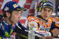 Second place Valentino Rossi, Yamaha Factory Racing, winner Marc Marquez, Repsol Honda Team
