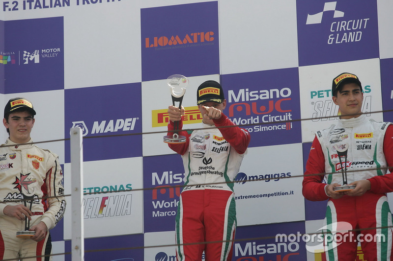 Podio-. Mick Schumacher, Prema Powerteam, celebra su victoria