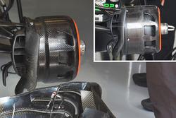 Comparaison des écopes de freins avant McLaren