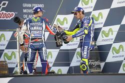 Podium: second place Jorge Lorenzo, Yamaha Factory Racing, third place Valentino Rossi, Yamaha Factory Racing