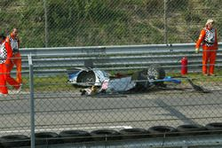 Parts of the heavily damaged car of Peter Dumbreck, OPC Team Phoenix, Opel Vectra GTS V8, after cras