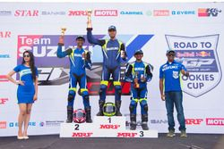 Podium Red Bull Road to Rookies Cup race 3: winner Sachin Choudhary, second place AS Alexander, third place S Varoon