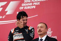 Third placed Sergio Perez, Sahara Force India F1 on the podium