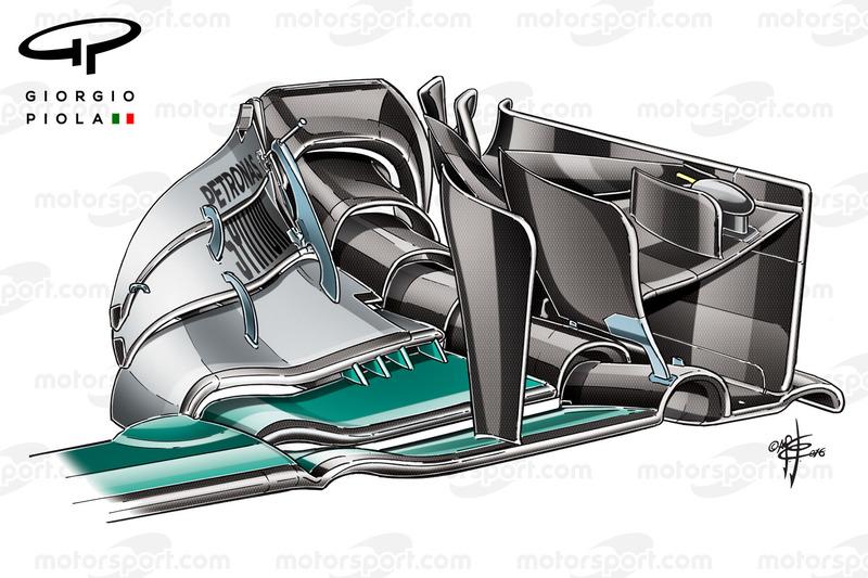 Neuer Frontflügel für den Mercedes F1 W07