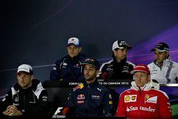 Conférence de presse : Marcus Ericsson, Sauber F1, Sergio Perez, Force India, Felipe Massa, Williams, Kimi Raikkonen, Ferrari, Daniel Ricciardo, Red Bull Racing, et Jenson Button, McLaren