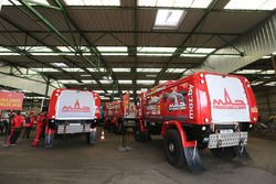 Maz trucks prepared in Le Havre for the long trip to Lima, Peru