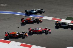 Sergio Perez, Force India VJM09 Mercedes, Daniel Ricciardo, Red Bull Racing RB12, Sebastian Vettel, Ferrari SF16-H, Daniil Kvyat, Red Bull Racing RB12, Lewis Hamilton, Mercedes F1 W07