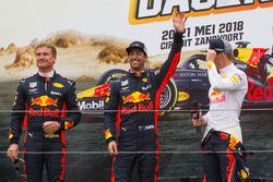 Max Verstappen, Daniel Ricciardo et David Coulthard lors des Jumbo Racing Days