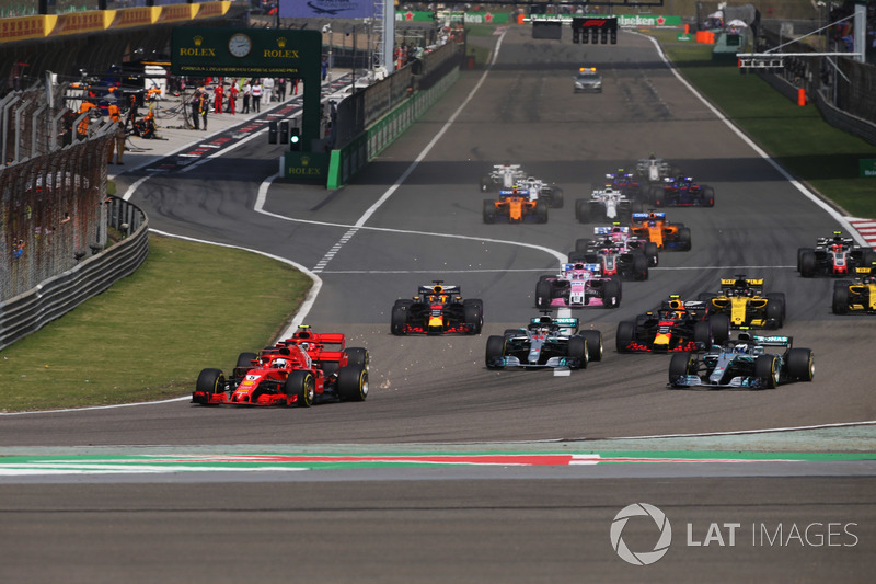 Sebastian Vettel, Ferrari SF71H, Kimi Raikkonen, Ferrari SF71H, Valtteri Bottas, Mercedes AMG F1 W09, Lewis Hamilton, Mercedes AMG F1 W09, Max Verstappen, Red Bull Racing RB14 Tag Heuer, Daniel Ricciardo, Red Bull Racing RB14 Tag Heuer, Nico Hulkenberg, Re