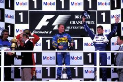 The podium finishers, Flavio Briatore, Benetton Team Principal, Prince Michael of Kent, Jean Alesi, Ferrari 2nd, Johnny Herbert, Benetton 1st, David Coulthard, Williams 3rd, Kenneth Clarke, MP