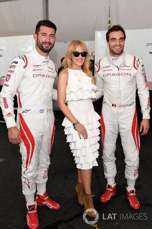 Kylie Minogue con Jose Maria Lopez, Dragon Racing, Jérôme d'Ambrosio, Dragon Racing