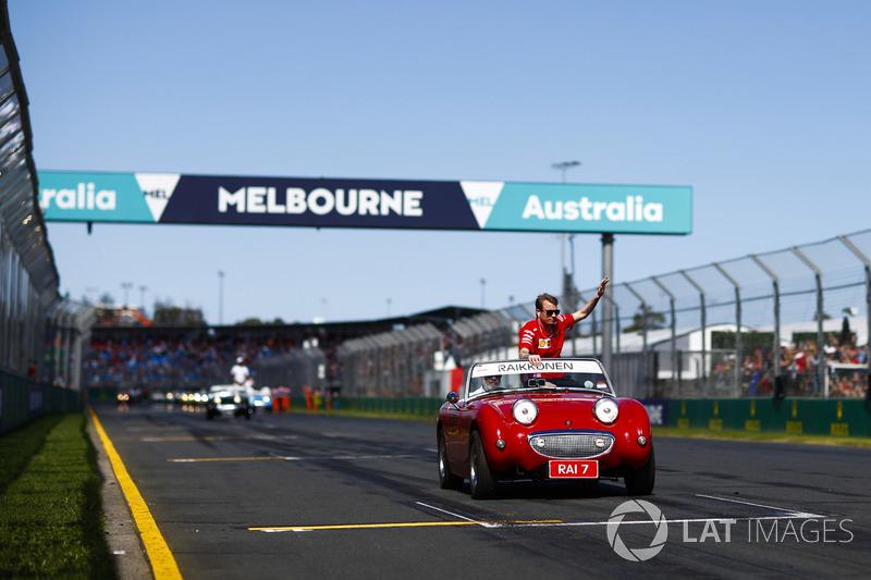 Kimi Raikkonen, Ferrari, pilotlar geçit töreninde