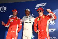 Third place Sebastian Vettel, Ferrari, pole sitter Lewis Hamilton, Mercedes-AMG F1 and second place Kimi Raikkonen, Ferrari in parc ferme