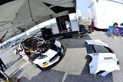 Crews work on the #41 TA Chevrolet Camaro: Vinnie Allegretta of TA Sights & Sounds