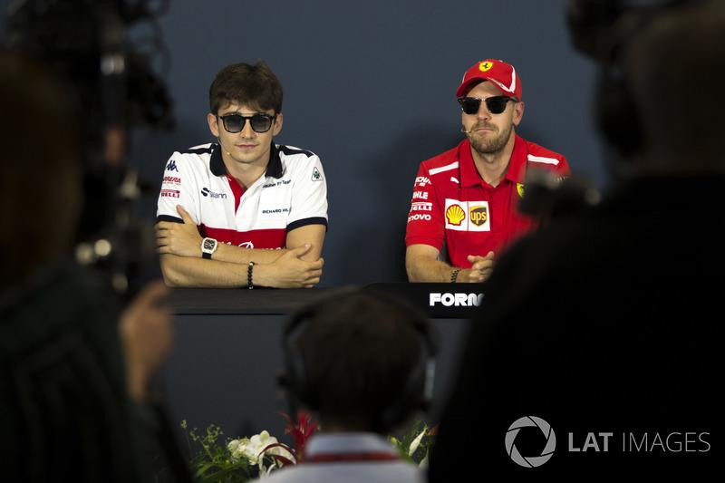 Sebastian Vettel, Ferrari et Sebastian Vettel, Ferrari lors de la conférence de presse