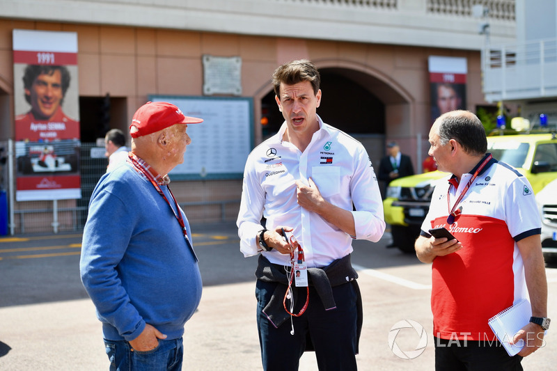 Niki Lauda, Mercedes AMG F1 Non-Executive Chairman, Toto Wolff, Mercedes AMG F1 Director of Motorsport and Frederic Vasseur, Sauber, Team Principal
