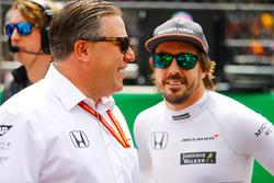 Zak Brown, Executive Director, McLaren Technology Group, Fernando Alonso, McLaren