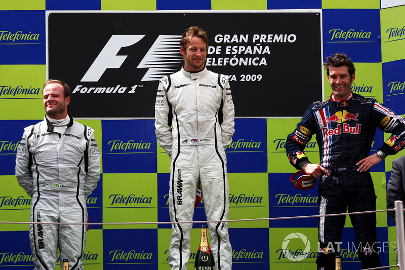 2009: 1. Jenson Button, 2. Rubens Barrichello, 3. Mark Webber
