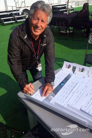Mario Andretti, Andretti Autosport Honda signs Justin Wilson poster